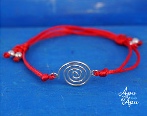 pachamama red string bracelet, infinite good luck symbol