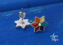 Load image into Gallery viewer, 7 chakra color silver studs, yoga earrings