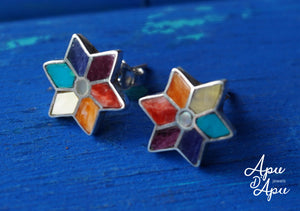 silver studs with 7 chakra color stones