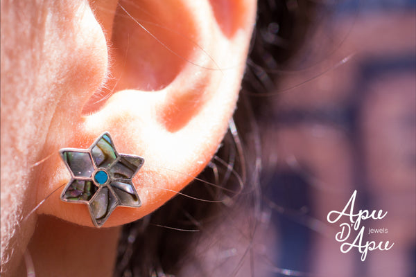 abalone snow flake studs earrings, must have studs