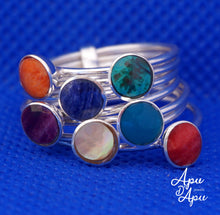 Load image into Gallery viewer, seminario weekly ring sterling silver chakra stones
