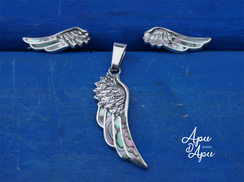 angel wings jewelry set, pendant necklace and earrings