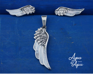 guardian angel wings jewelry set, silver feather set