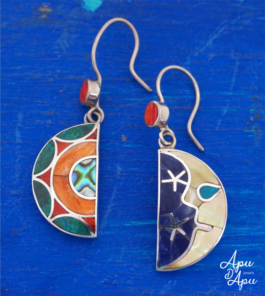 sun and moon celestial earrings - Inca symbol love - peruvian earrings