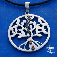 tree of life silver necklace with kundalini stones