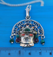 tumi sacred Inka pendant necklace, silver, 3 dimensional with stones