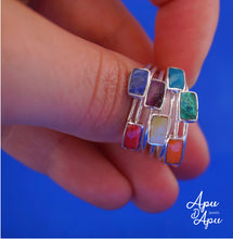Load image into Gallery viewer, weekly semanario ring silver with stones