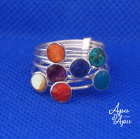 multi band 7 chakra gem stones silver ring