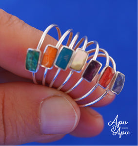 weekly ring sterling silver and stones chakra colors