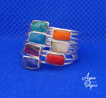 Load image into Gallery viewer, weekly ring in sterling silver and colorful stones, yoga ring