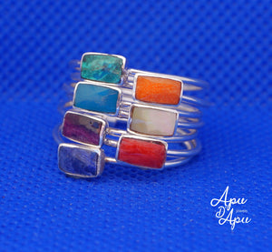 weekly ring in sterling silver and colorful stones, yoga ring