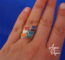 Load image into Gallery viewer, weekly ring in sterling silver and chakra stones