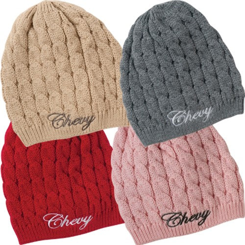 Ladies Chevy Cable Knit Beanie - Camaro Store Online ... dfe67adcc08