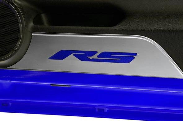2010-2015 Camaro -Door Panel Kick Plates 'RS' Inlay | Brushed Stainless
