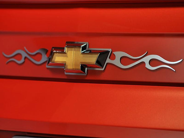 2010-2013 Camaro Tribal Flame Rear Chevy Emblem Trim