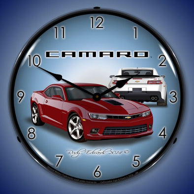 Lighted 2014 SS Camaro Crystal Red Clock