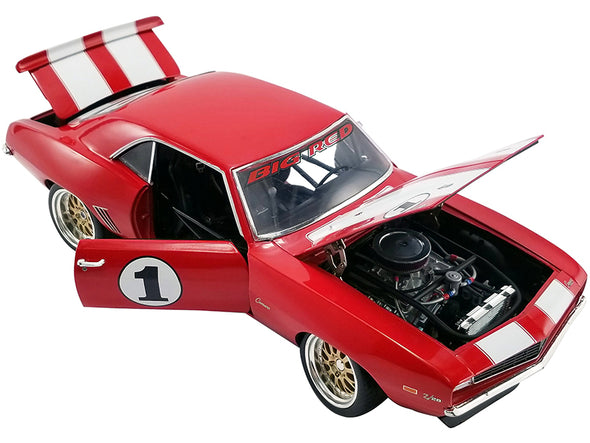 1969 Camaro Big Red Camaro Red/White Stripes Outlaw Racer 1/18 Diecast