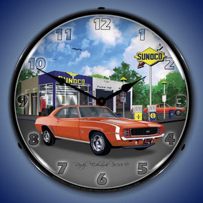 Lighted 1969 Camaro RS SS Sunoco Clock