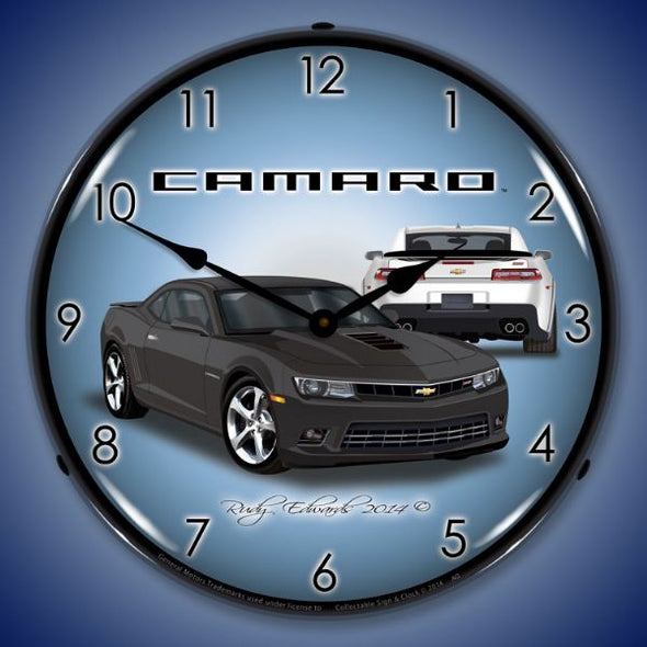 Lighted 2014 SS Camaro Ashen Grey Clock