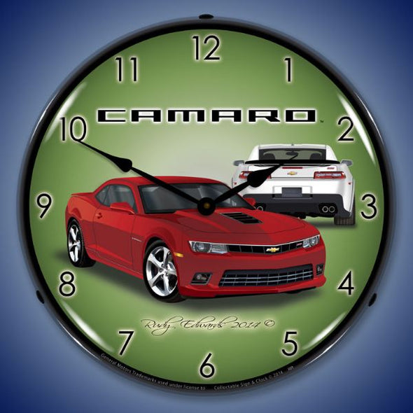 Lighted 2014 SS Camaro Red Rock Clock