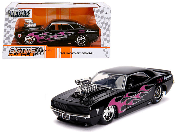 1969 Camaro w/Blower Black and Pink Flames Bigtime Muscle 1/24 Diecast