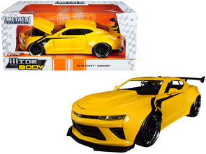 2016 Camaro Widebody Metallic Yellow - Black Stripes Big Time Muscle 1/24 Diecast