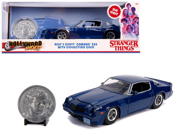 Billy's Camaro Z28 Dark Blue w/ Coin Stranger Things 1/24 Diecast