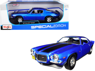 1971 Chevrolet Camaro Metallic Blue with Black Stripes 1/18 Diecast