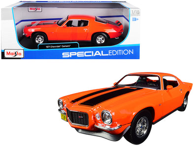 1971 Chevrolet Camaro Orange with Black Stripes 1/18 Diecast