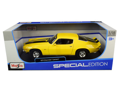 1971 Camaro Yellow with Black Stripes 1/18 Diecast