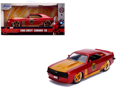 1969 Camaro SS Red Metallic and Gold Iron Man Avengers Marvel 1/32 Diecast