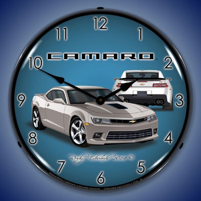 Lighted 2014 SS Camaro Silver Ice Clock