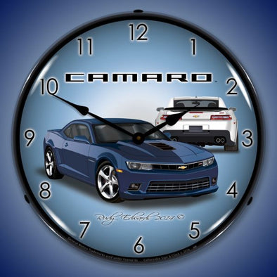 Lighted 2014 SS Camaro Blue Ray Clock