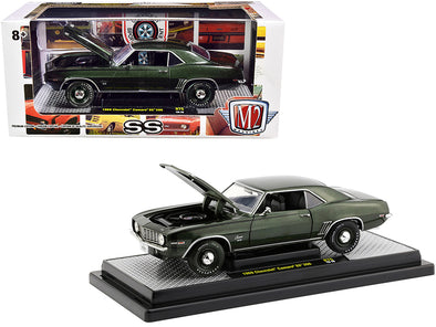 1969 Camaro SS 396 Fathom Green Metallic w Black Stripes 1/24 Diecast