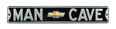 Chevy Man Cave Gold Bowtie Black Steel Street Sign