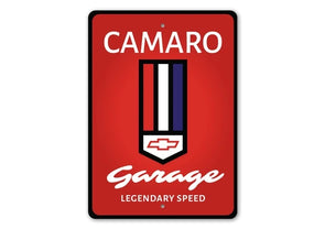 Chevy Camaro Garage Legendary Speed  - Aluminum Sign