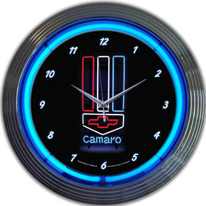 Camaro Red White & Blue Neon Clock (Chevy)