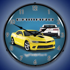 Lighted 2014 SS Camaro Bright Yellow Clock