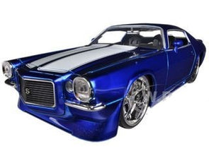 1971 Chevrolet Camaro Blue With White Stripes 1/24 Diecast