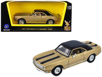 1967 Camaro Z-28 Gold w/ Black Stripes and Black Top 1/43 Diecast