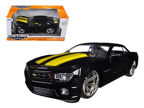 2010 Chevrolet Camaro SS Black With Yellow Stripes 1/24 Diecast
