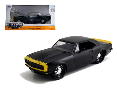 1967 Chevrolet Camaro Matt Black /Yellow 1/24 Diecast