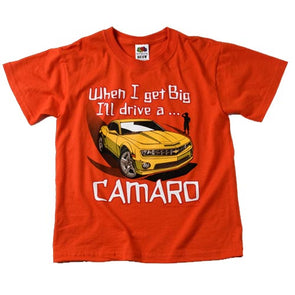 When I Get Big' New Camaro Kid's Orange Tee Shirt