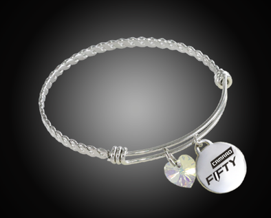 Camaro Fifty Logo & Swarovski Twisted Wire Charm Bracelet