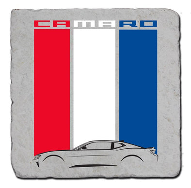 Camaro Red White Blue Stripe Stone Coaster