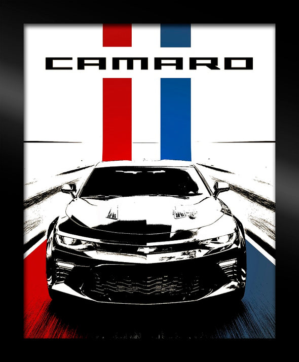 Camaro Red White Blue Framed Canvas Art