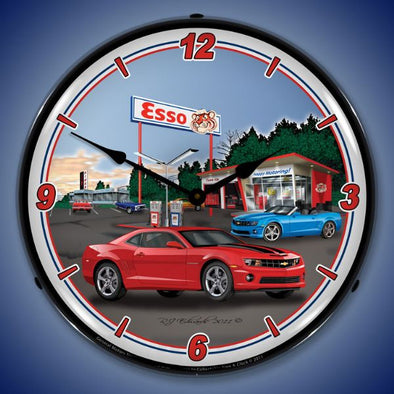 Lighted Camaro Esso Station Clock
