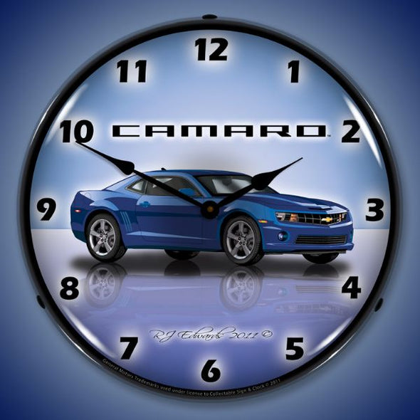 Lighted Camaro G5 Imperial Blue Clock