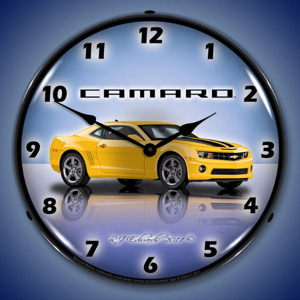 Lighted Camaro G5 Rally Yellow Clock