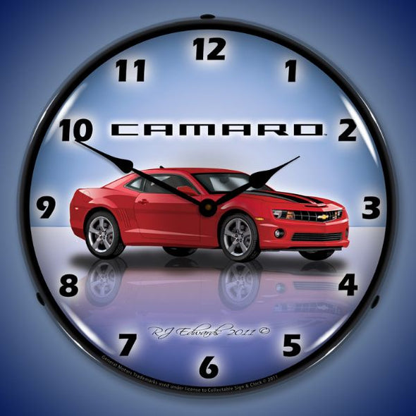 Lighted Camaro G5 Red Jewel Clock
